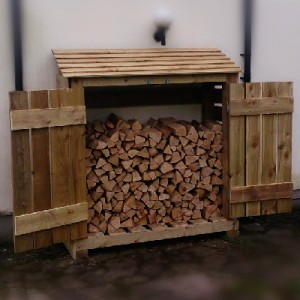 A log store showing firewood being looked after