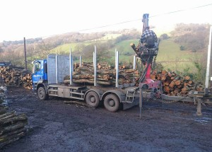 Locally sourced firewood being prepared on our farm ready for our customers